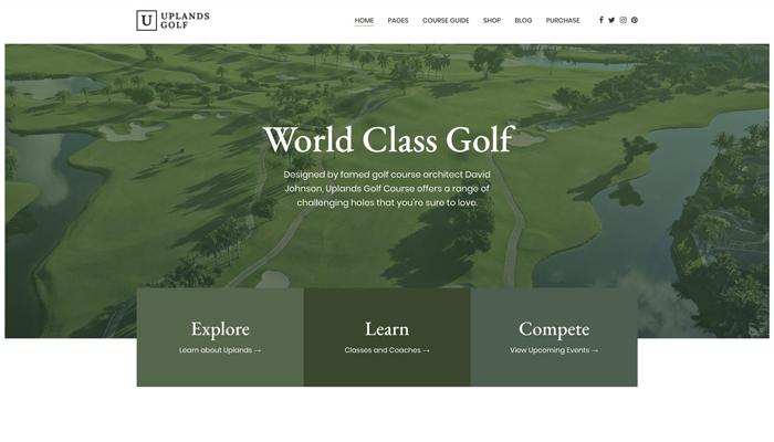 Theme WordPress cho thể thao golf – Uplands